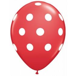 "11"" Big Polka Dots (White) Red 50Ct"