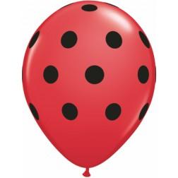 "11"" Big Polka Dots (Black) Red 50Ct"