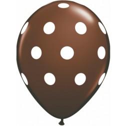 "11"" Big Polka Dots Chocolate Brown 50Ct"