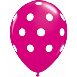 "11"" Big Polka Dots (White) Wild Berry 50Ct"