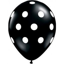 "11"" Big Polka Dots Onyx Black 50Ct"