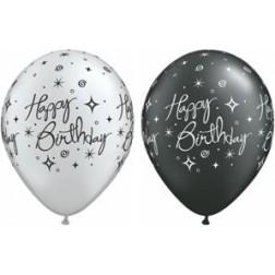 "11"" Birthday Elegant Sparkles & Swirls Silver&Pearl Onyx 50Ct"