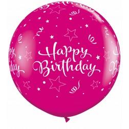 "11"" Birthday Shining Star Pink&Berry 50Ct"