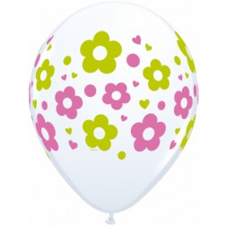 "11"" Daisies, Dots, & Hearts White 50Ct"