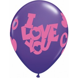 """11"""" I Love You Contempo Hearts Purple Violet 50Ct"""