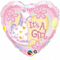 "18"" It's A Girl Soft Pony Heart"